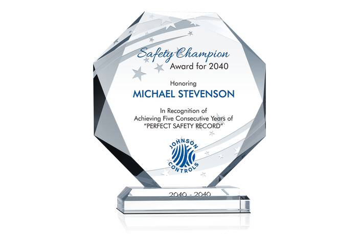 Octagon Safety Recognition Plaque - Crystal Central