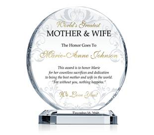 Best Wife & Mother Award Plaque