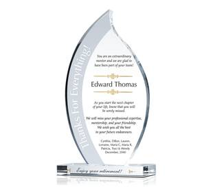 Flame Crystal Retirement Award Plaque