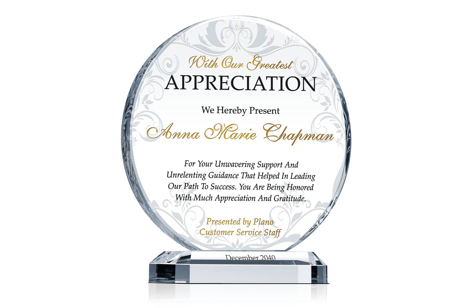 Circle Employee Appreciation Award Plaque