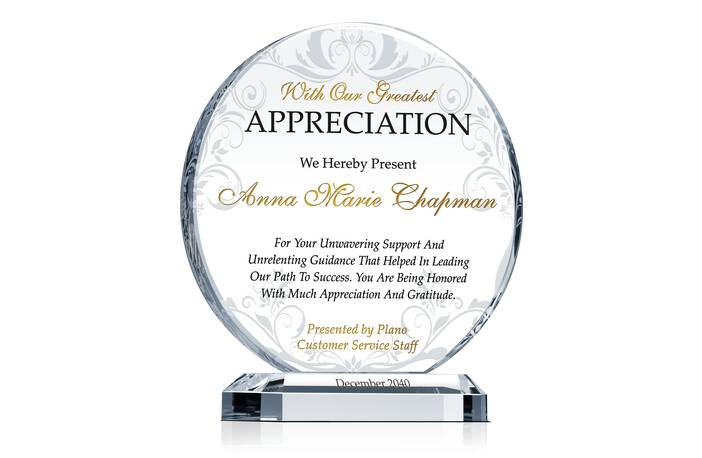 Circle Service Appreciation Plaque - Crystal Central