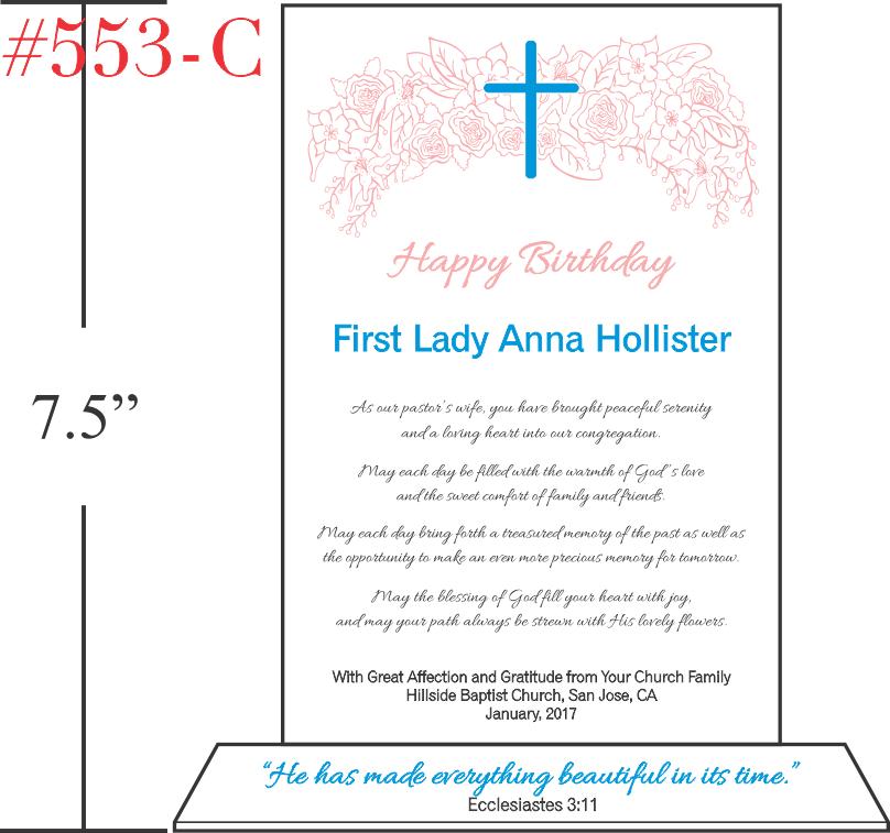 Pastor's Wife Birthday Gift Wording Ideas