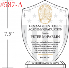 LAPD Academy Graduation Award Plaque