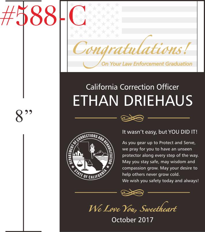 Law Enforcement oath of honor graduation plaque