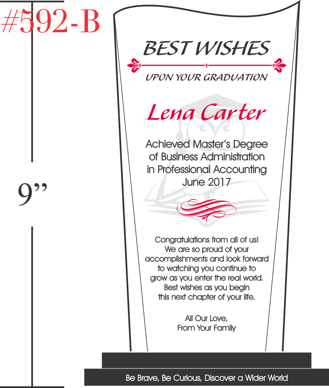 Best Wishes Graduation Plaque from Family