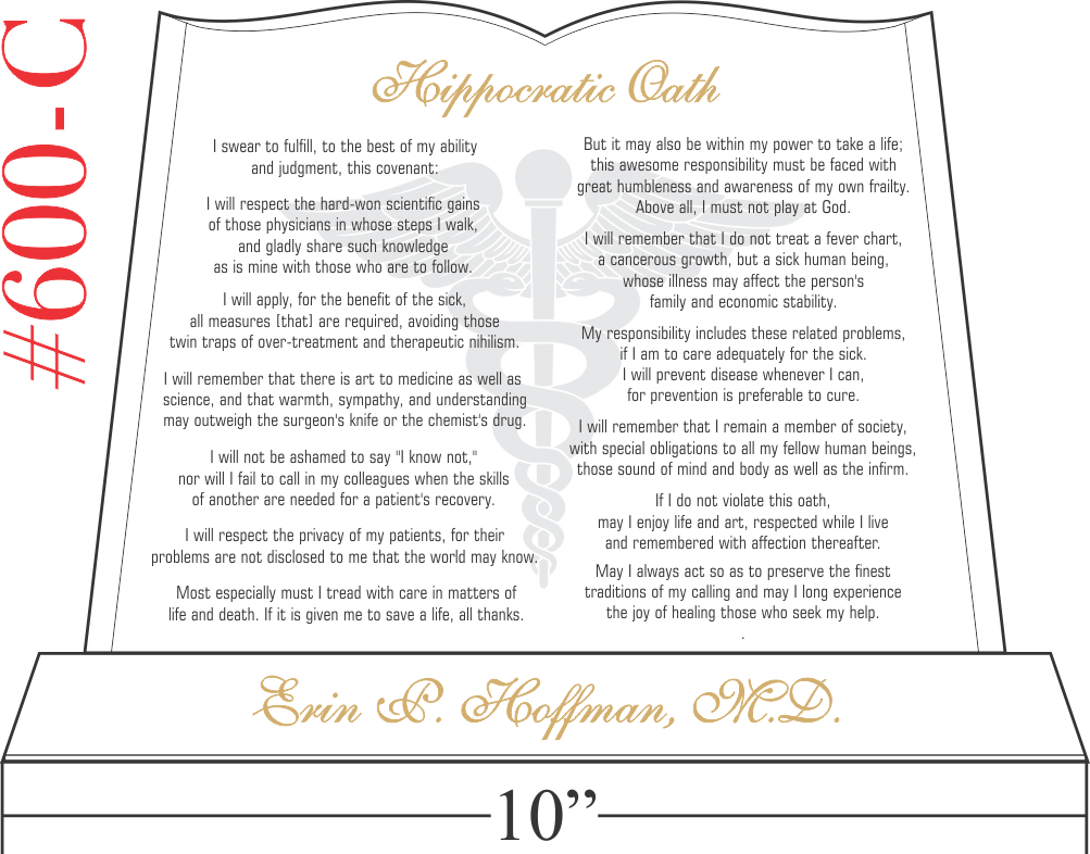 Med School Graduation Gift with Hippocratic Oath
