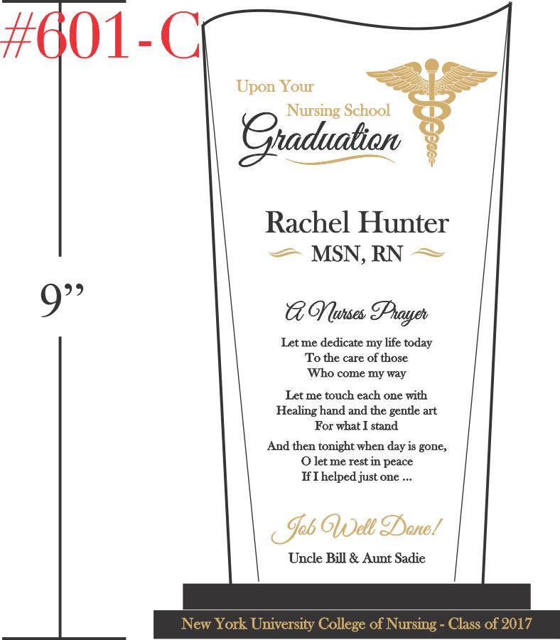 Nurse's Prayer Graduation Gift Plaque