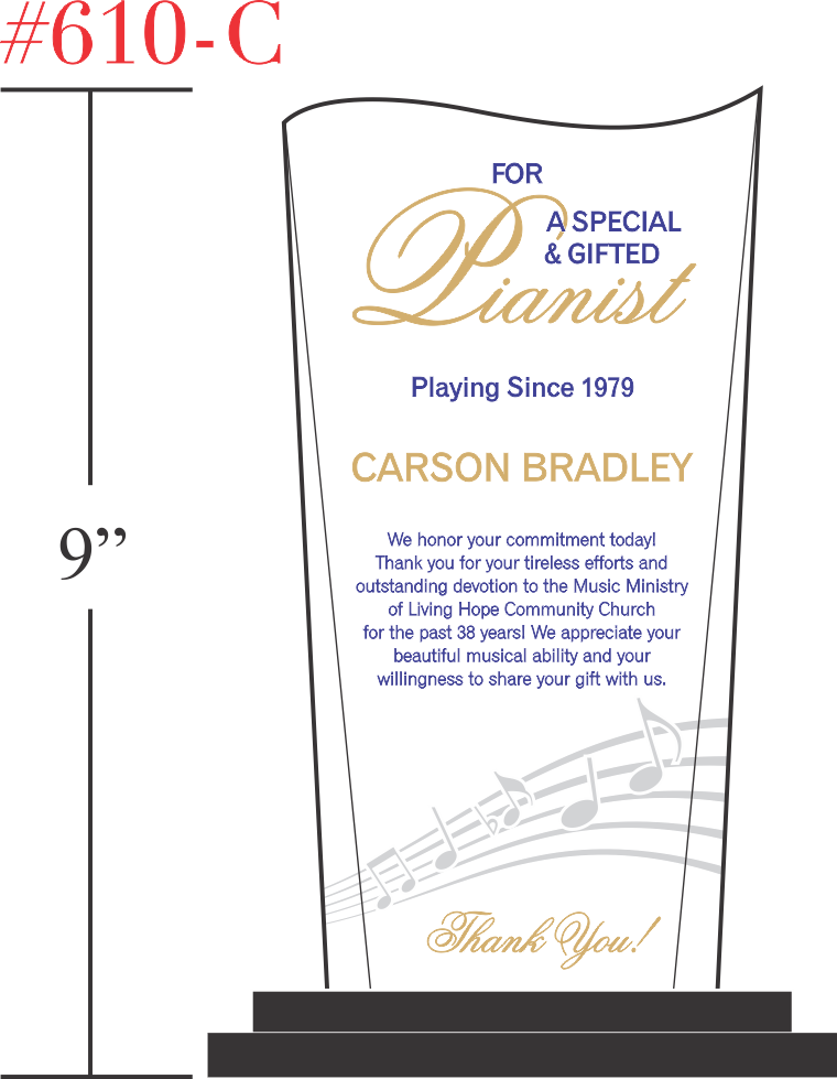 Church Pianist Retirement Gift
