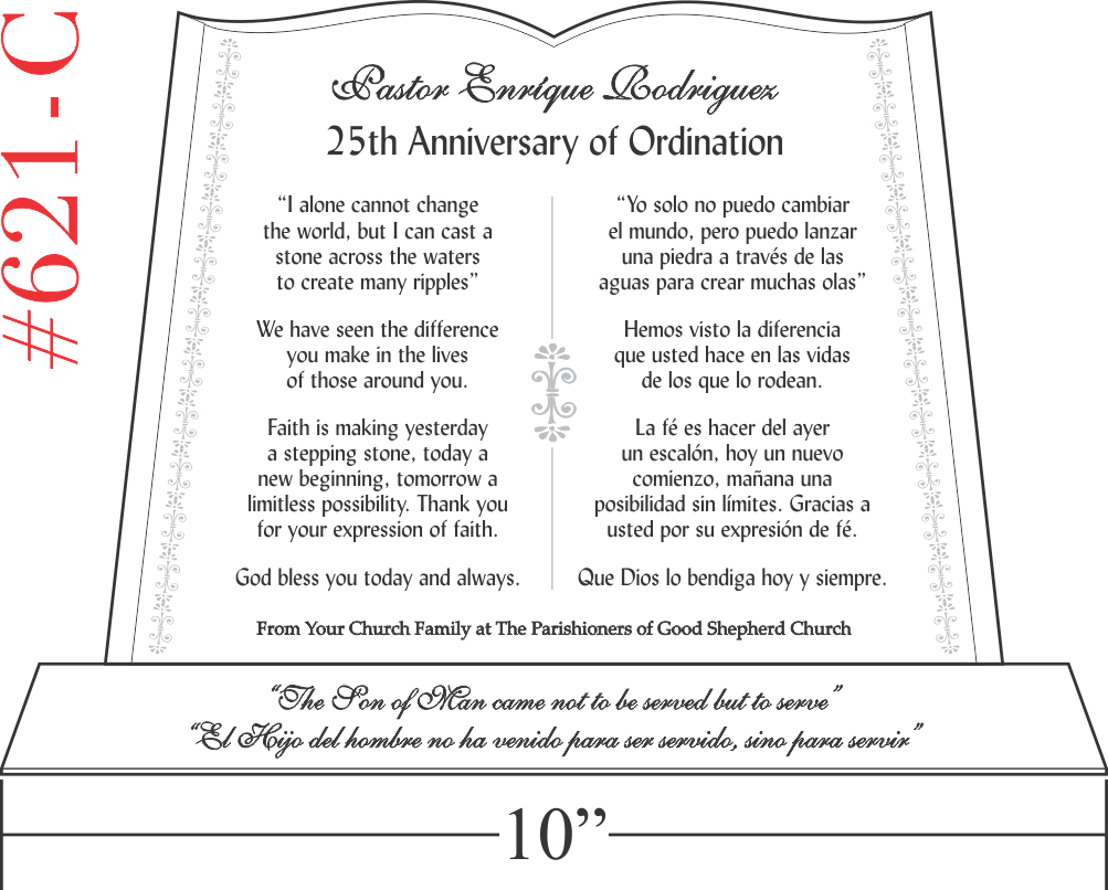 25th Ordination Anniversary Gift with Spanish Scripture (#621-C)