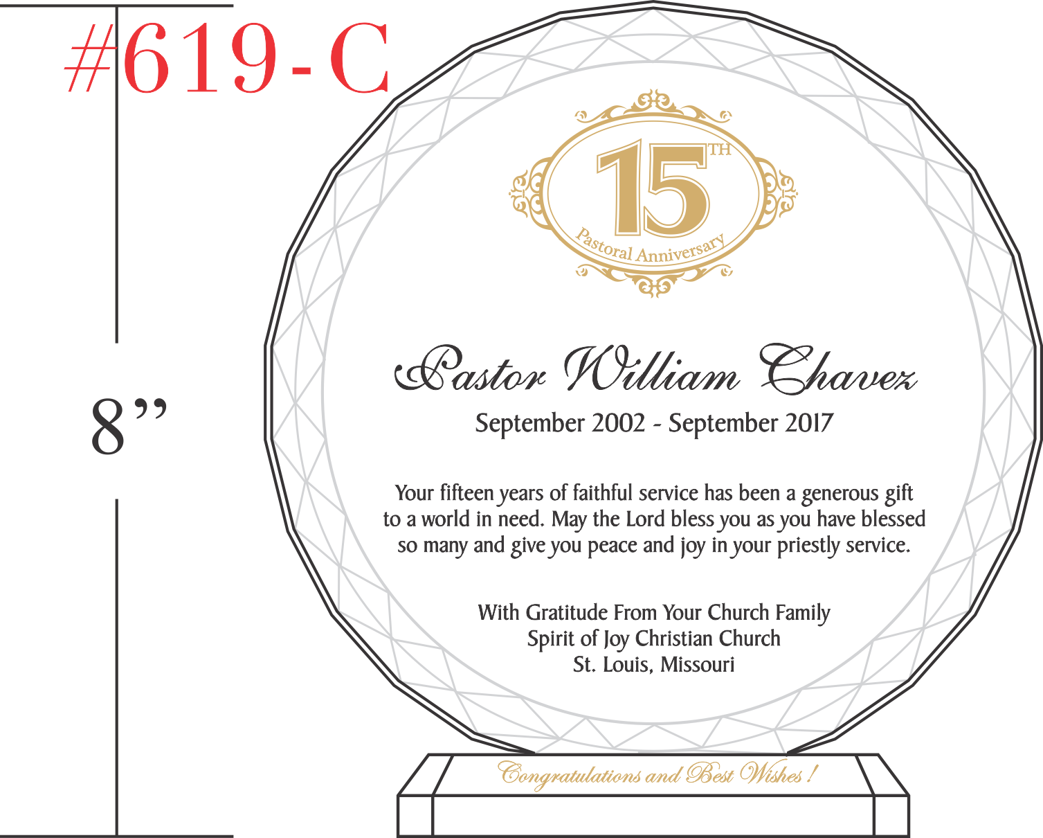 15th Pastoral Anniversary Gift Plaque