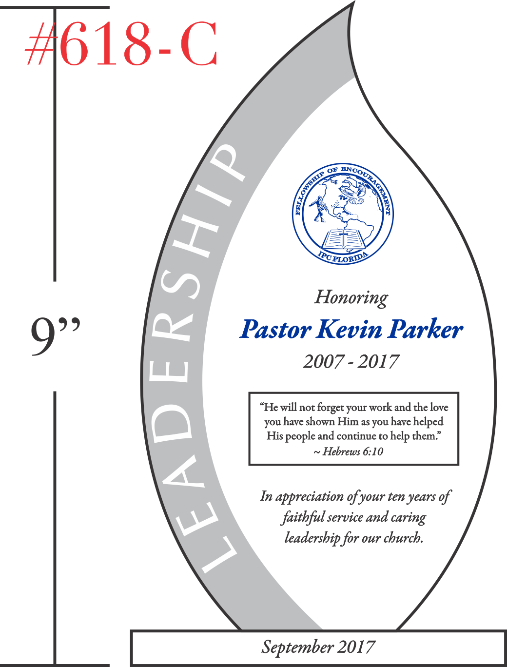 Pastor 10 Year Anniversary Award Plaque
