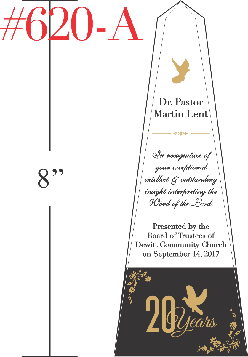 20 Years Pastor Anniversary Recognition Award