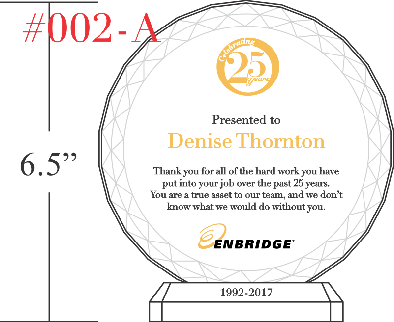 25 Years of Service Award Plaque