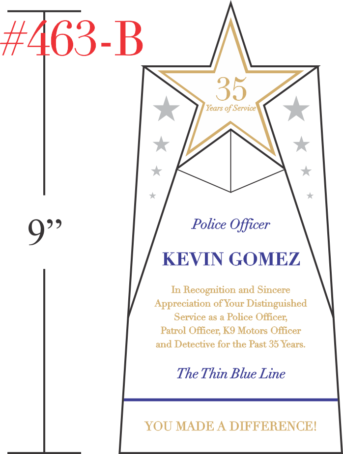 Police Officer Service Recognition Plaque