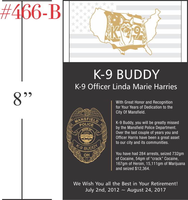 K-9 Police Retirement Gift