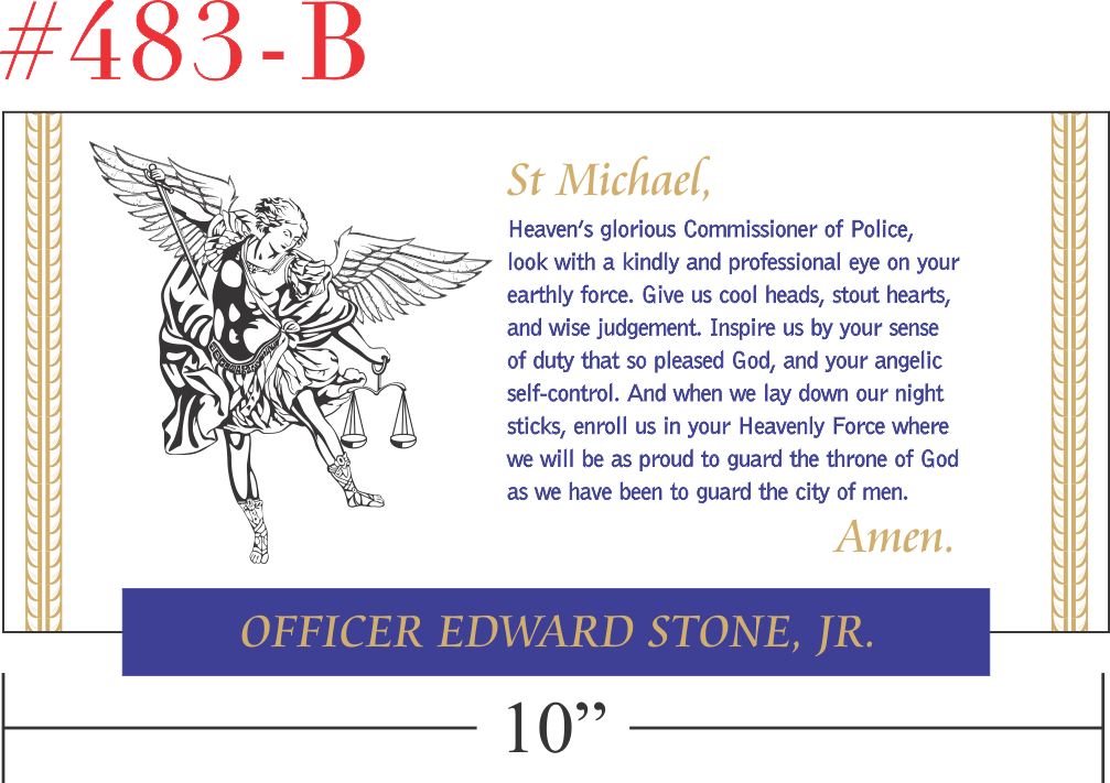 St Michael Policeman's Prayer Plaque