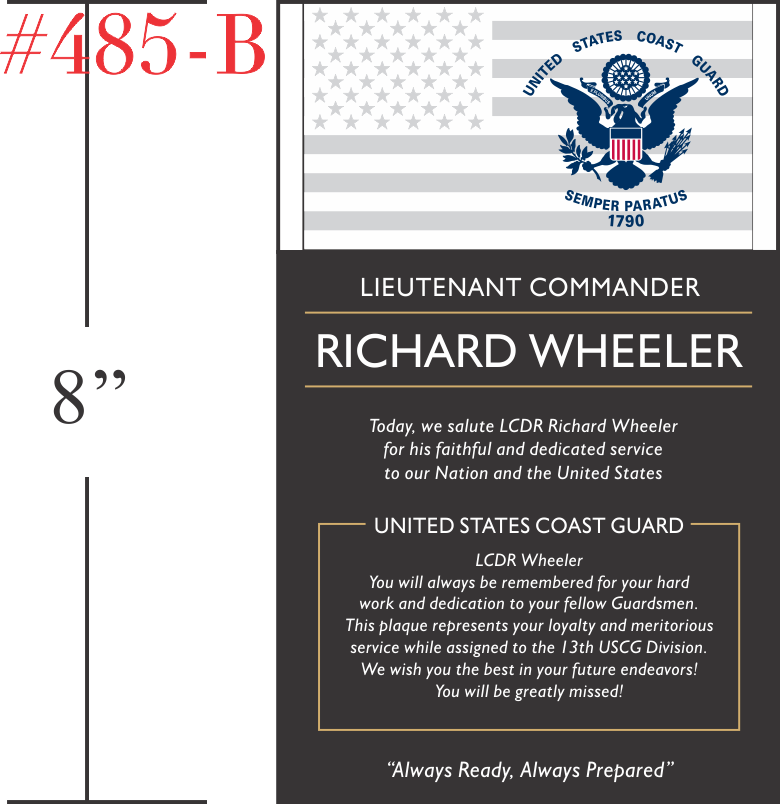 USCG Commander Retirement Plaque