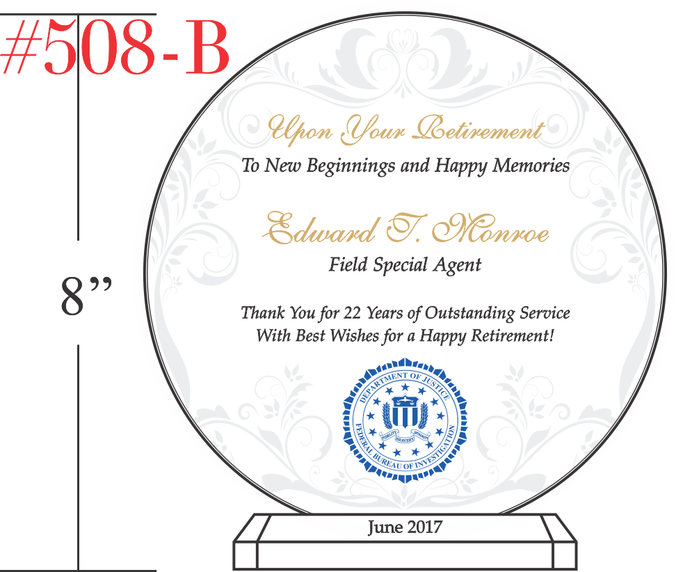 FBI Agent Retirement Plaque