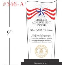 Patriotic Achievement Award Plaque Wording Sample by Crystal Central