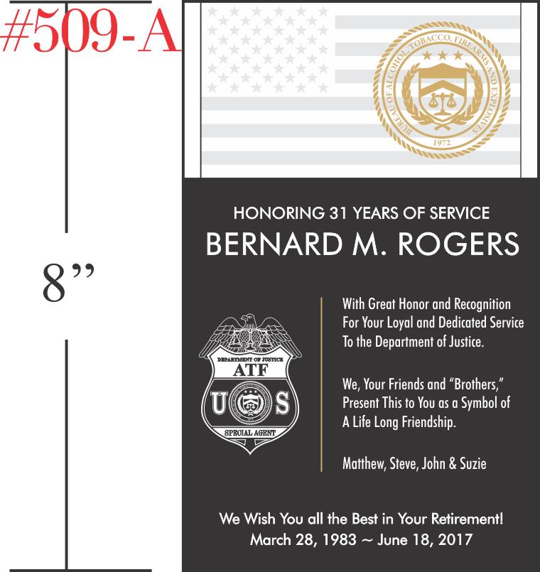 ATF Agent Retirement Plaque