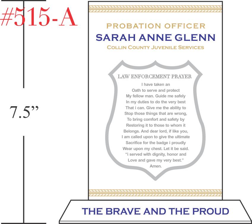 Probation Officer Prayer Plaque