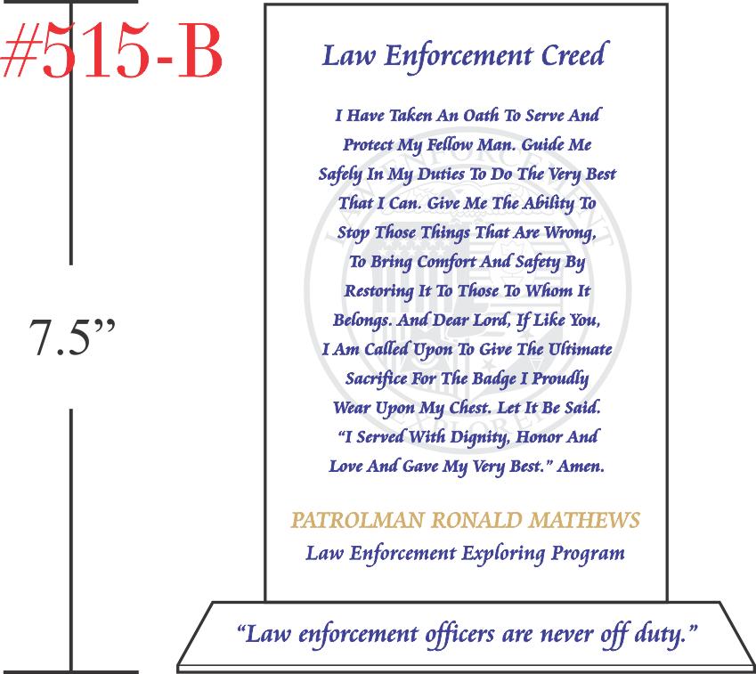 Law Enforcement Creed Plaque