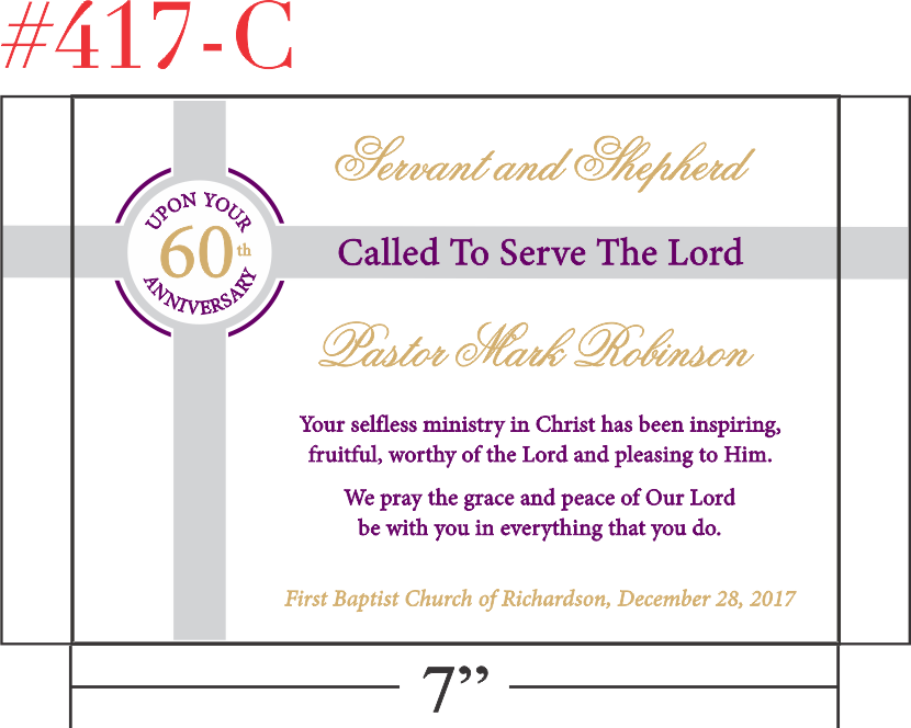 Recognition Gift for Pastor's Anniversary