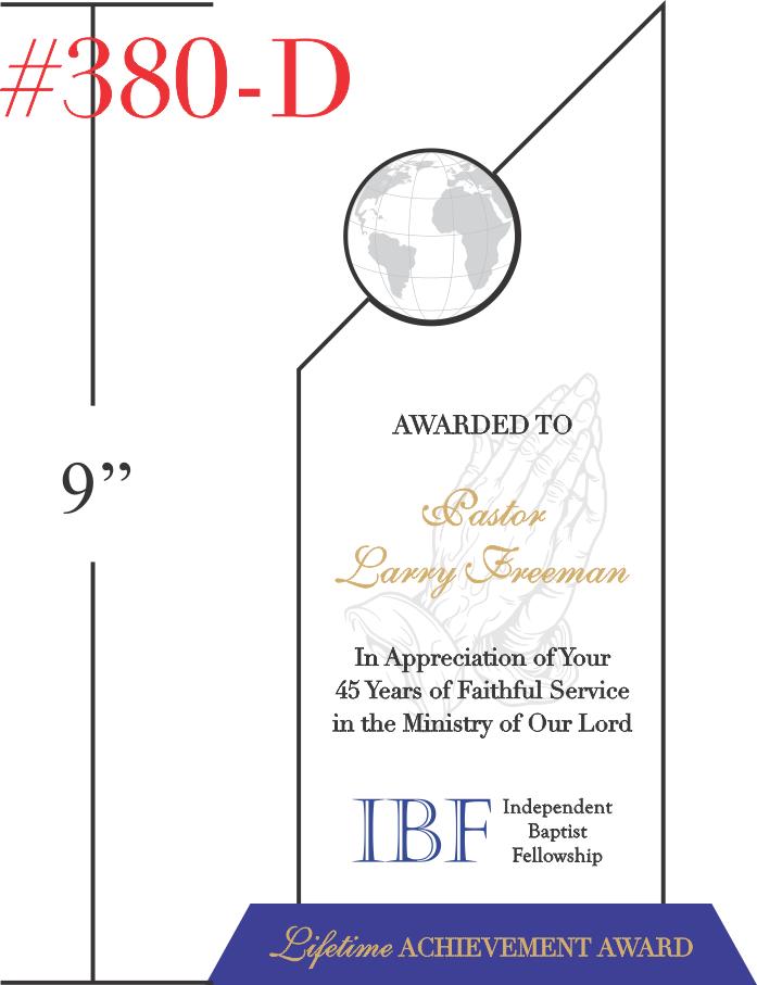 Lifetime Achievement Award for Pastor