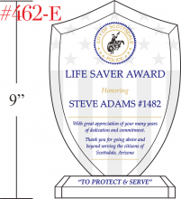 Police shield recognition plaque crystal central for Life saving award certificate template
