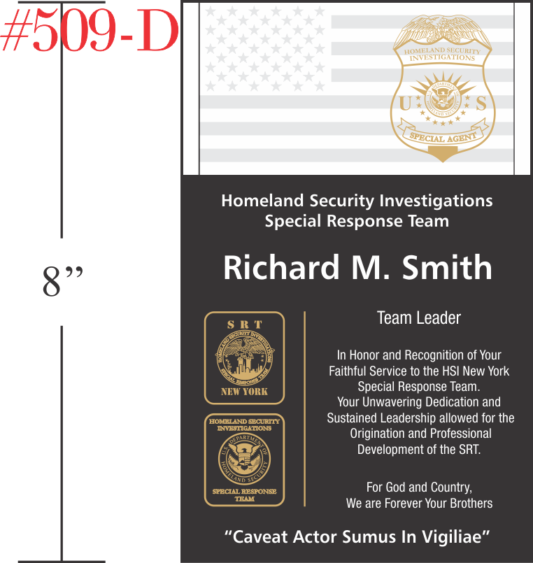 HSI Special Agent Retirement Gift