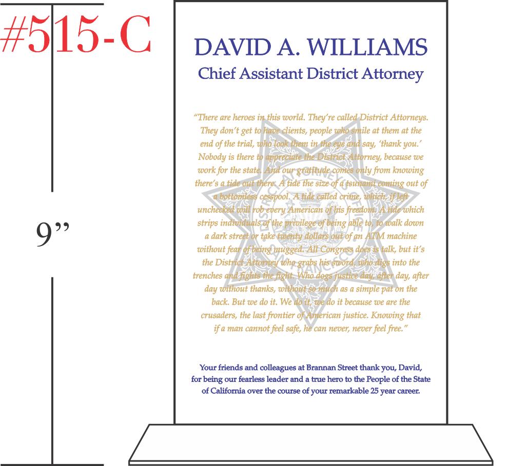 District Attorney Quote Plaque
