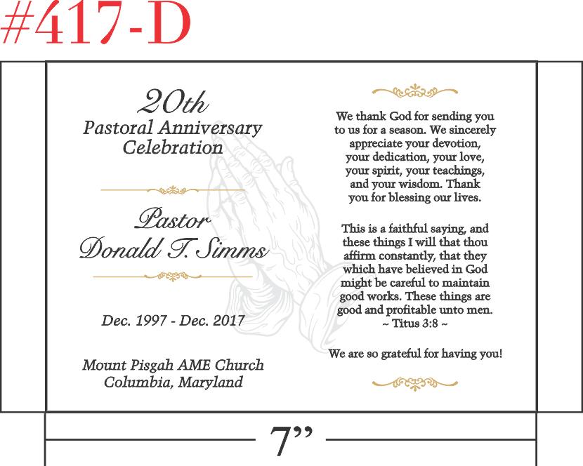 20th Pastoral Anniversary Gift Idea