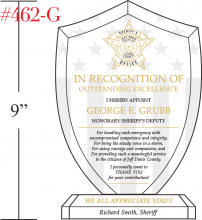 Police Shield Recognition Plaque Crystal Central